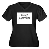 Future Comedian Women's Plus Size V-Neck Dark T-Sh