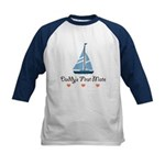 Daddy's 1st Mate Sailing Sailboat Kids Baseball Je