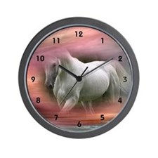 White Stallion in the Mist Wall Clock