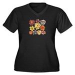 Ten Daylilies Women's Plus Size V-Neck Dark T-Shir
