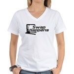 Swap Happens Women's V-Neck T-Shirt
