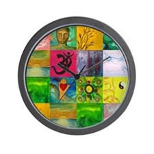 Smiling Buddha Patchwork Wall Clock
