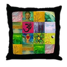 Smiling Buddha Patchwork Throw Pillow