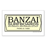 Banzai Surfboards Rectangle Sticker