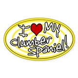Hypno I Love My Clumber Spaniel Oval Sticker Ylw