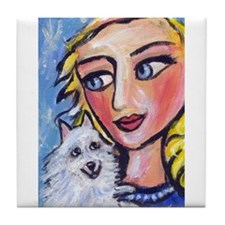 ESKIE w Blond Lady Tile Coaster