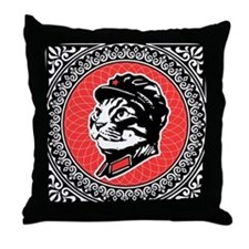 Chairman Meow Propaganda Throw Pillow