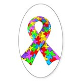 3D Puzzle Ribbon Oval Decal
