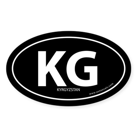Kyrgyzstan country bumper sticker -Black (Oval)