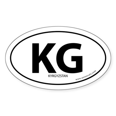Kyrgyzstan country bumper sticker -White (Oval)