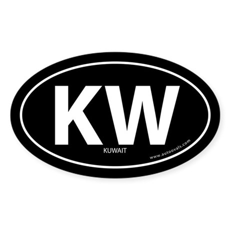 Kuwait country bumper sticker -Black (Oval)