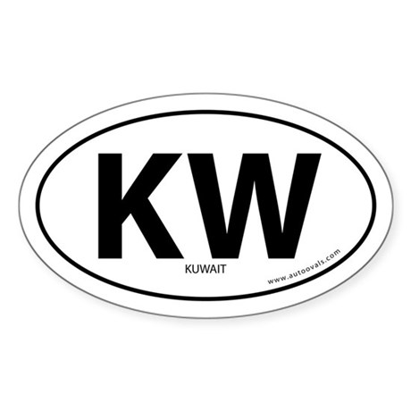 Kuwait country bumper sticker -White (Oval)