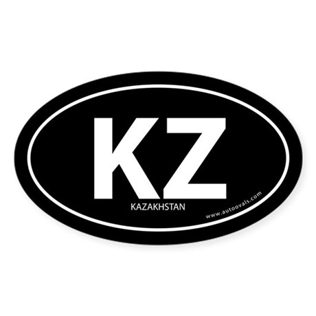 Kazakhstan country bumper sticker -Black (Oval)