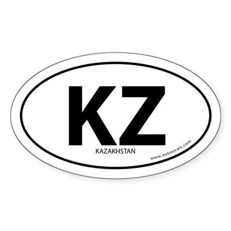Kazakhstan country bumper sticker -White (Oval)