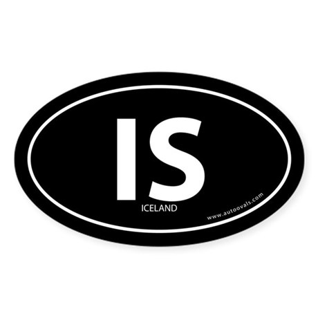 Iceland country bumper sticker -Black (Oval)