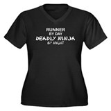 Runner Deadly Ninja Women's Plus Size V-Neck Dark