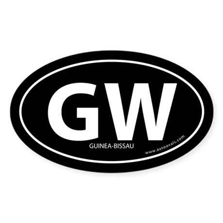 Guinea-Bissau country bumper sticker -Black (Oval)
