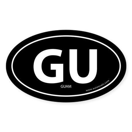 Guam country bumper sticker -Black (Oval)