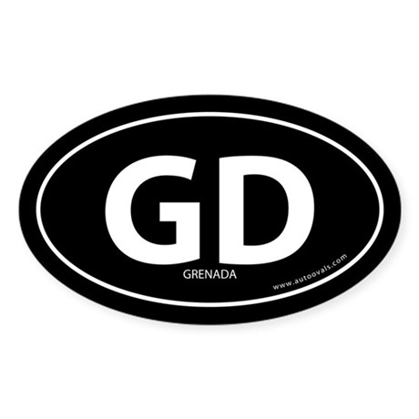 Grenada country bumper sticker -Black (Oval)