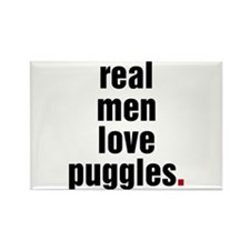 Real Men Love Puggles Rectangle Magnet