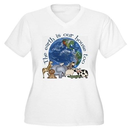 The Earth Is Our House Too Women's Plus Size V-Nec