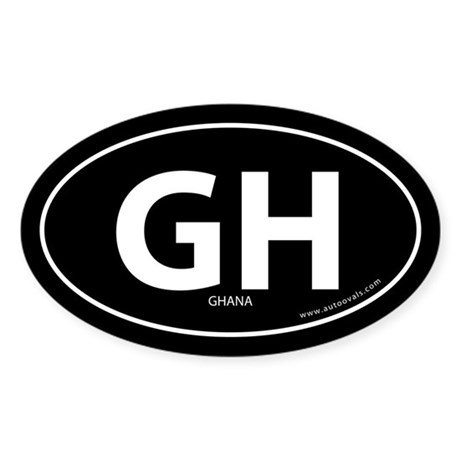 Ghana country bumper sticker -Black (Oval)