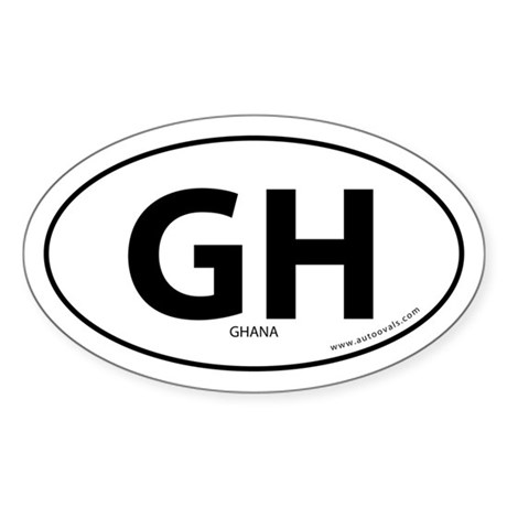 Ghana country bumper sticker -White (Oval)