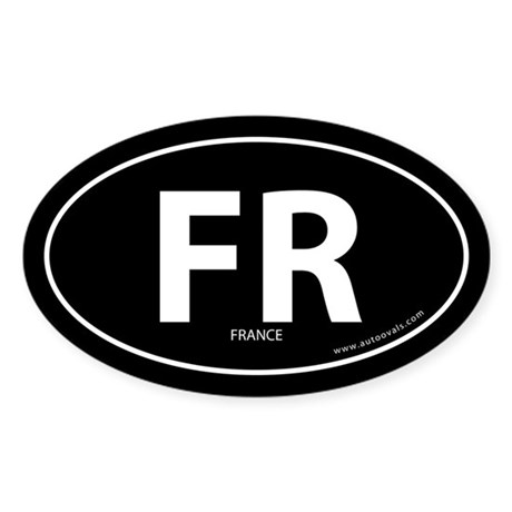 France country bumper sticker -Black (Oval)