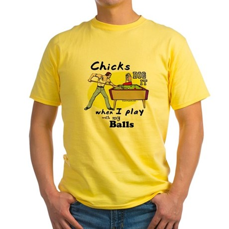 Suggestive Billiards Yellow T-Shirt
