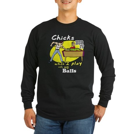 Suggestive Billiards Long Sleeve Dark T-Shirt