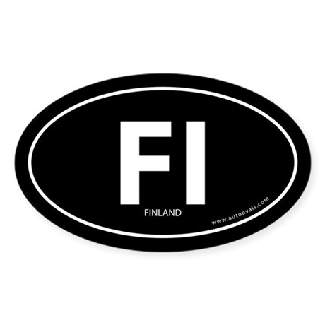 Finland country bumper sticker -Black (Oval)