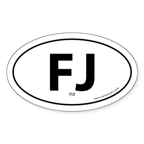 Fiji country bumper sticker -White (Oval)