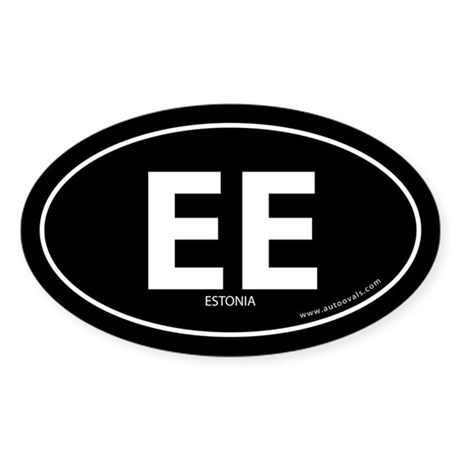 Estonia country bumper sticker -Black (Oval)