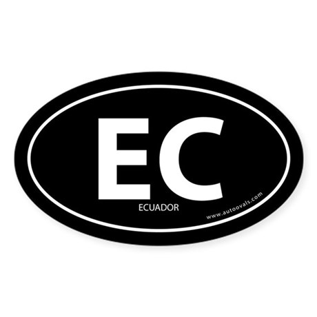 Ecuador country bumper sticker -Black (Oval)