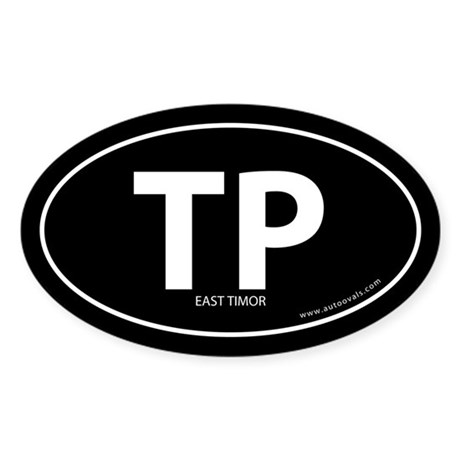 East Timor country bumper sticker -Black (Oval)