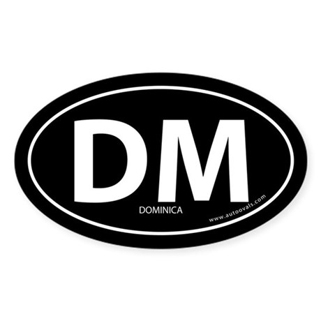 Dominica country bumper sticker -Black (Oval)