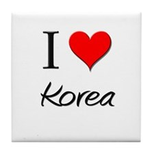 I Love Korea Tile Coaster