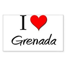 I Love Grenada Rectangle Decal