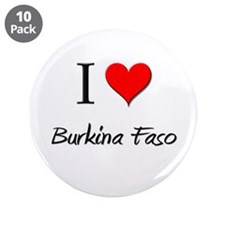 "I Love Burkina Faso 3.5"" Button (10 pack)"