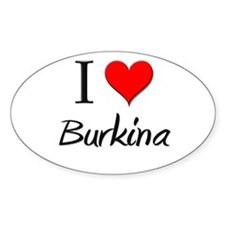 I Love Burkina Oval Decal