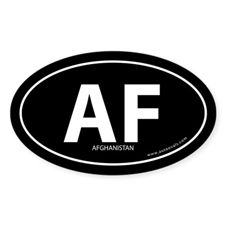 Afghanistan country bumper sticker -Black (Oval)