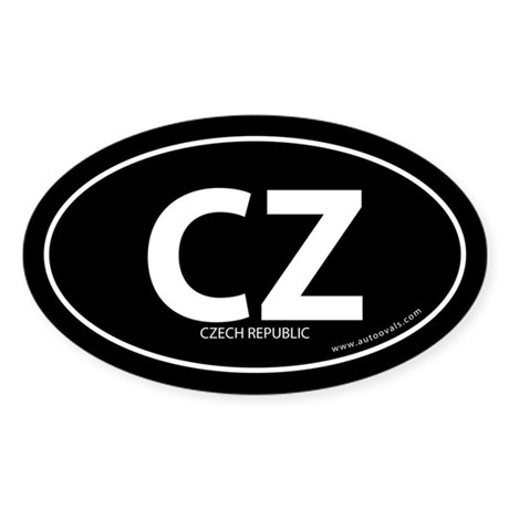 Czech Republic country bumper sticker Black (Oval)