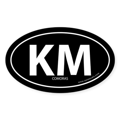 Comoras country bumper sticker -Black (Oval)