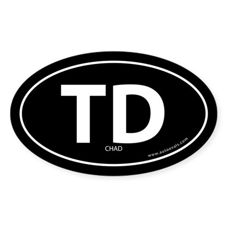 Chad country bumper sticker -Black (Oval)