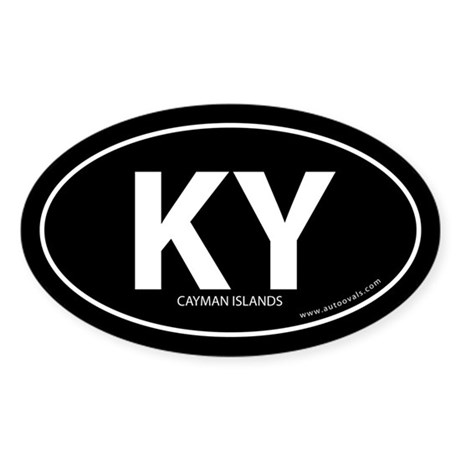 Cayman Islands country bumper sticker Black (Oval)