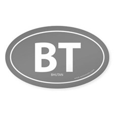 Bhutan country bumper sticker -Black (Oval)