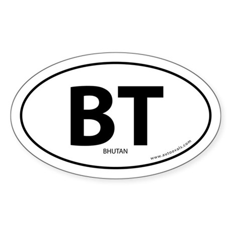 Bhutan country bumper sticker -White (Oval)