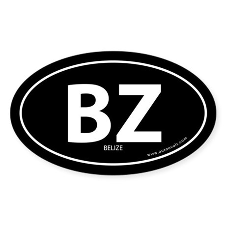 Belize country bumper sticker -Black (Oval)