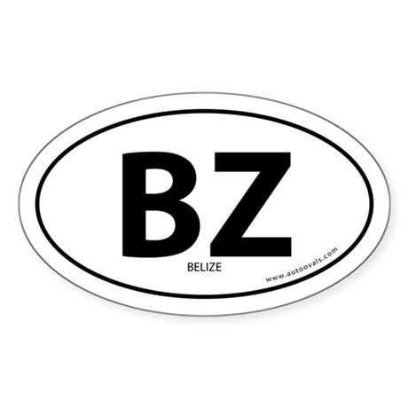 Belize country bumper sticker -White (Oval)
