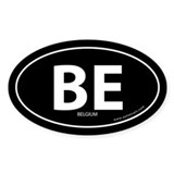 Belgium country bumper sticker -Black (Oval)